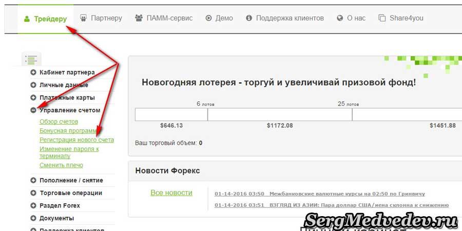 Регистрация нового счета Forex4you