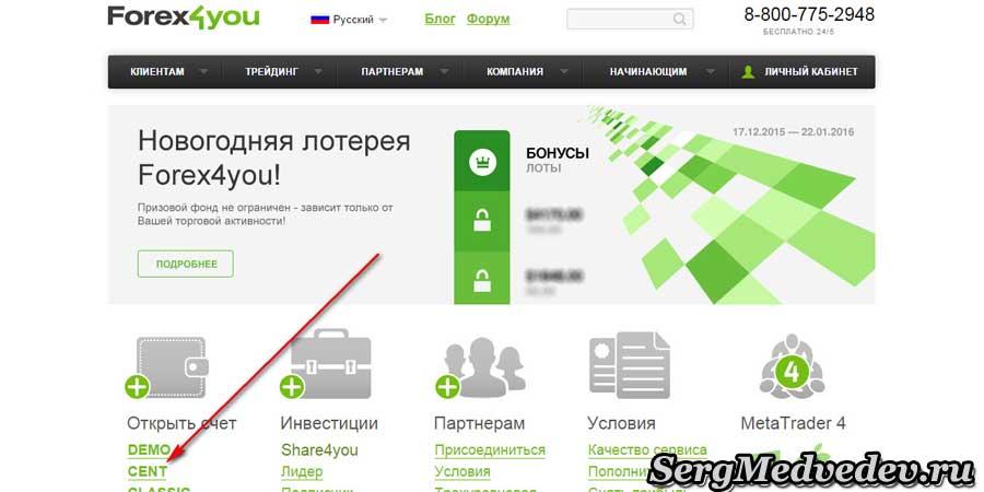 Регистрация трейдера Forex4you