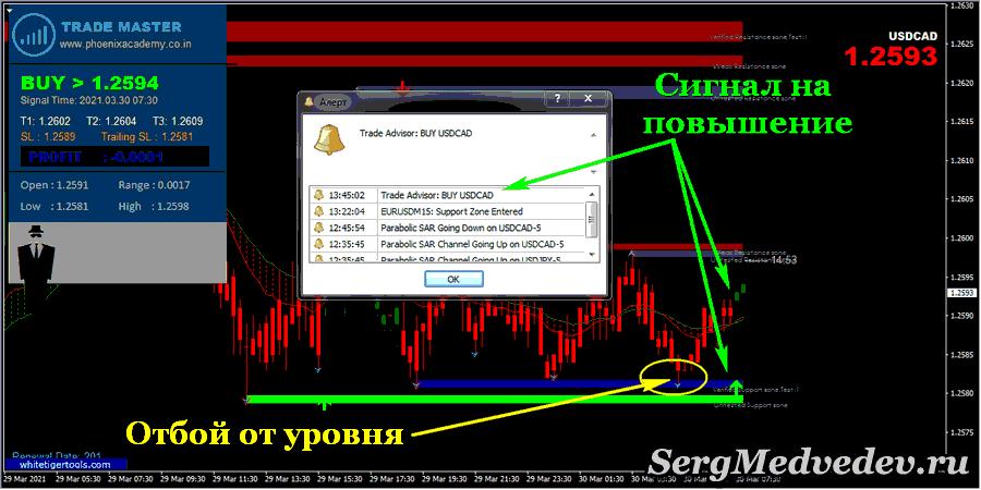 Сигнал стратегии Master Trading на повышение