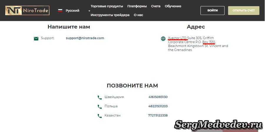 Адрес регистрации NiroTrade